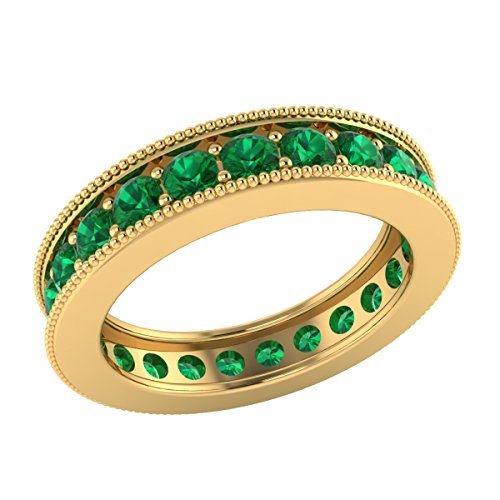 (Demira Jewels 1.50 cttw Round Cut Simulated Green Emerald 10k Yellow Gold Full Eternity Band Ring)