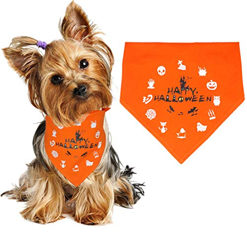WONDERPUP Halloween Dog Bandana Ghost Castle Orange Triangle Bibs Scarf Accessories for Dogs Puppy Cats