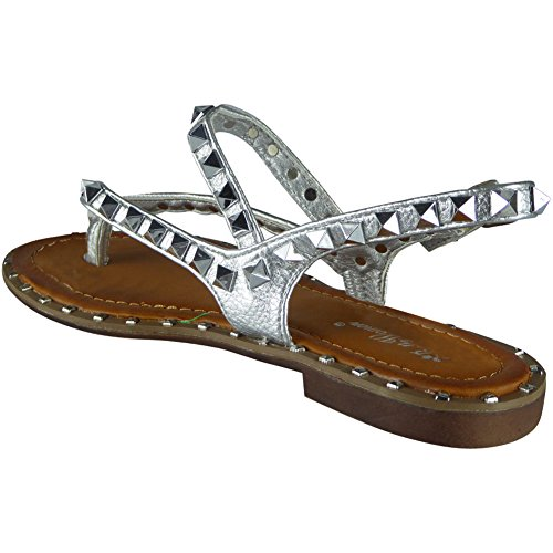 Size Post 8 Silver Strappy Gladiator Summer Sandals Studded Toe 3 Ladies 0PUZfqP