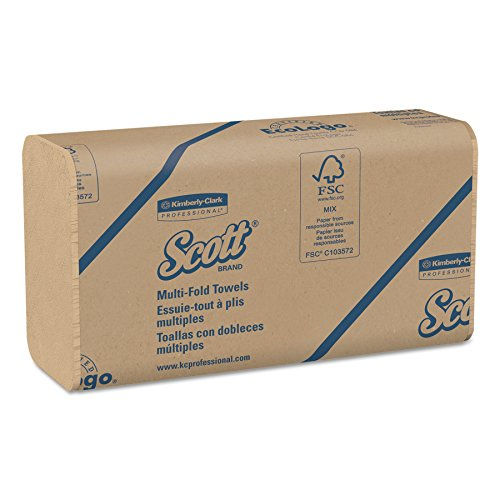 Scott 01801 Multi-Fold Towels, 100% Recycled, 9 1/5x9 2/5, Natural, 250 per Pack (Case of 16 Packs)