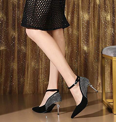 Gamuza Las Metal Sandalias Primavera De Bombas Lentejuelas Moda Puntiagudas Tacones Zapatos Correa Tobillo Fiesta Y Verano Plateado Altos Del Negro Mujeres 7q70E4w