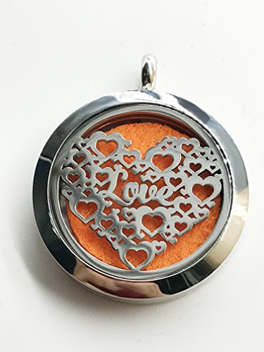 SHAMAKE Air Freshener Aromatherapy Essential Oil Diffuser Heart Shaped Pendant Locket Jewelry Stainless Steel Locket,6 Refill Pads (Random color)With Gift Bag (Heart Pendant2)