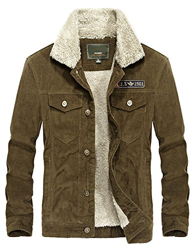 (Yeokou Men's Vintage Slim Sherpa Lined Shearling Corduroy Trucker Jacket Coffee)