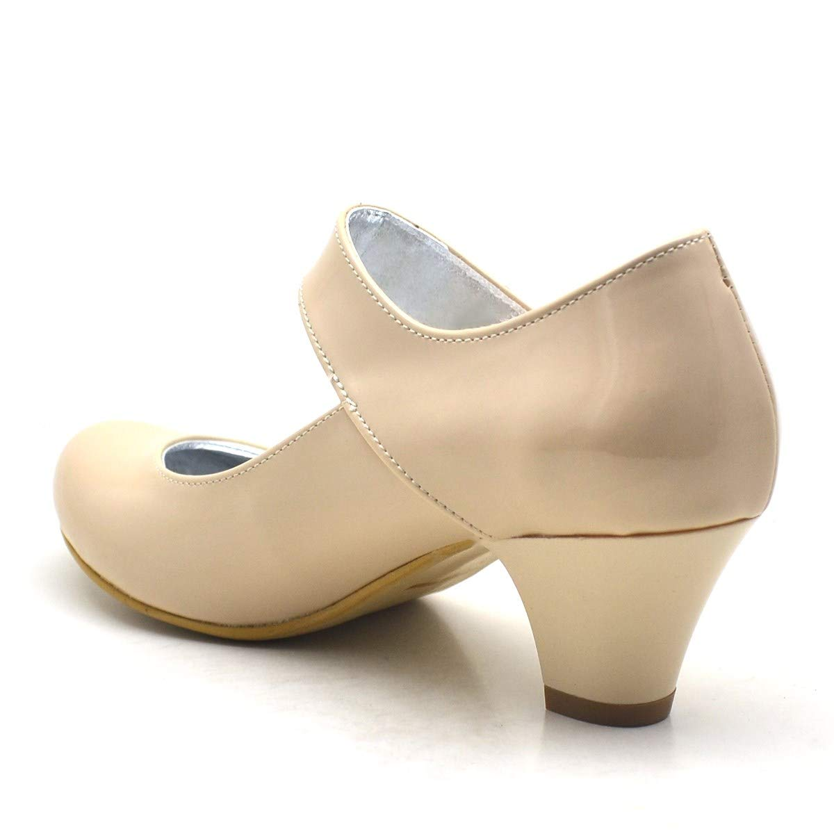 a6b41e1c9a61a Sarıkaya Rugan Taşlı Ten Rengi Topuklu Kız Çocuk Abiye Ayakkabı:  Amazon.com.tr: Hapshoe