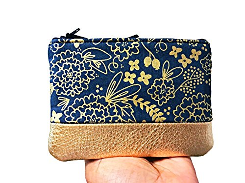 Floral Metallic Gold Leather Pouch, Coin Purse