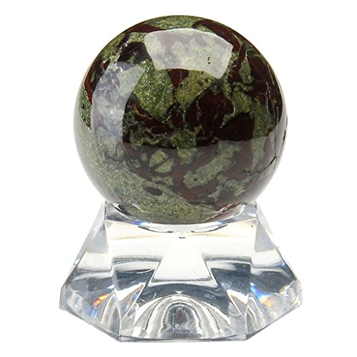 Top Plaza Divination Crystal Ball Sphere Natural Dragon Blood Jasper Gemstone Crystal Sphere Ball With Acrylic Base 1.2