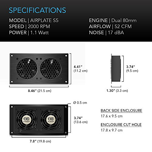 AC Infinity AIRPLATE S5, Quiet Cooling Fan System 8'' with Speed Control, for Home Theater AV Cabinets by AC Infinity (Image #5)