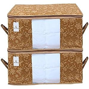 Kuber Industries Underbed Storage Bag, Storage Organiser, Blanket Cover Set of 2 – Beige, Extra Large Size, CTKUBM10