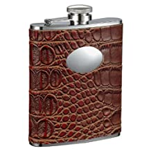 "Visol ""Bronze"" Crocodile Leather Stainless Steel Flask, 6-Ounce, Brown"