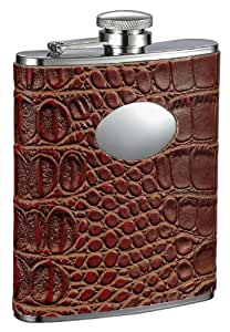 """Visol """"Bronze"""" Crocodile Leather Stainless Steel Flask, 6-Ounce, Brown"""