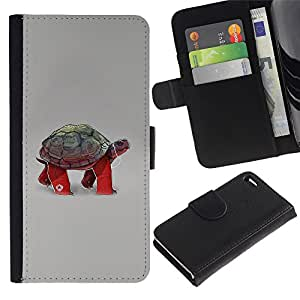 Ihec-Tech / Flip PU Cuero Cover Case para Apple Iphone 4 / 4S - Funny Turtle Tortoise