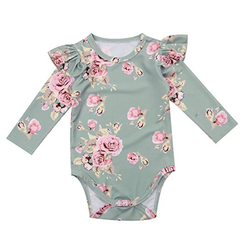 Infant Baby Girl Fall Winter Ruffle Romper Long Sleeve Bodysuit Tops Clothes (3-9 Months(80), Green)