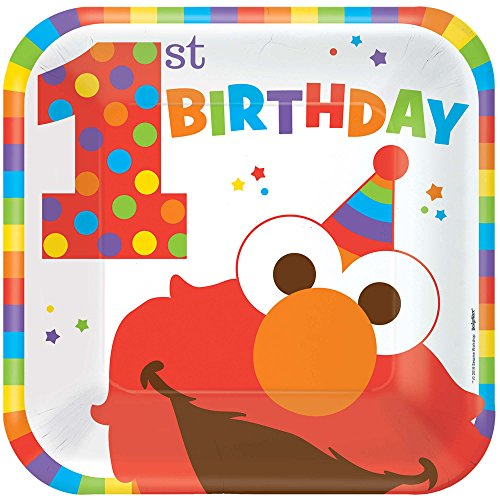 Amscan Sesame Street Elmo Turns One Square Plates, 9