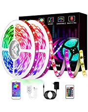 Led Lights, L8star 65.6ft/20m RGB Led Lights Strip for Bedroom with Bluetooth and Remote Controller Led Light Strips Sync to Music (2x32.8ft)