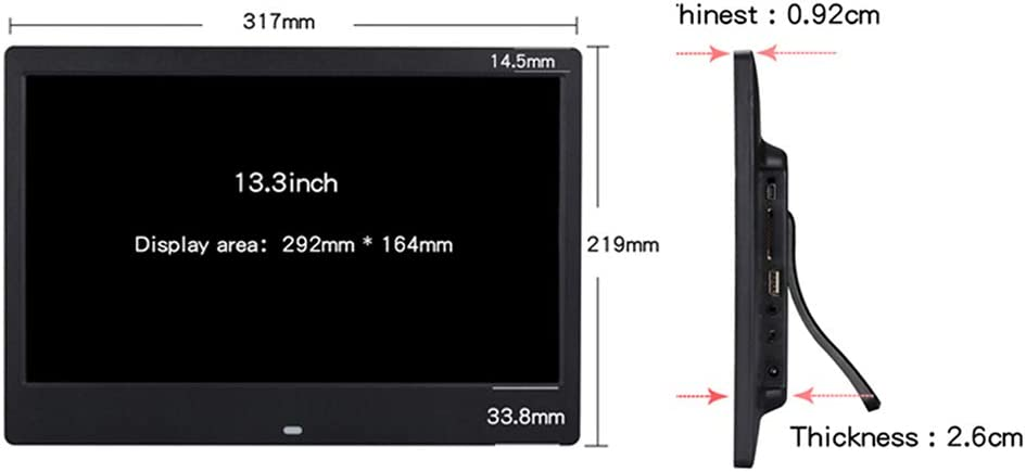 LoMe 13.3 Android Digital Photo Frame 1920 1080 HD Screen WiFi Electronic Photo Frame MP4 Monitor with Remote Control Detchable Bracket,Black