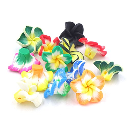 Fimo Magic - 20pcs Mix Polymer Clay 5-leaves Flower Spacer Loose Fimo Beads Necklace Ornament for Jewelry Making DIY
