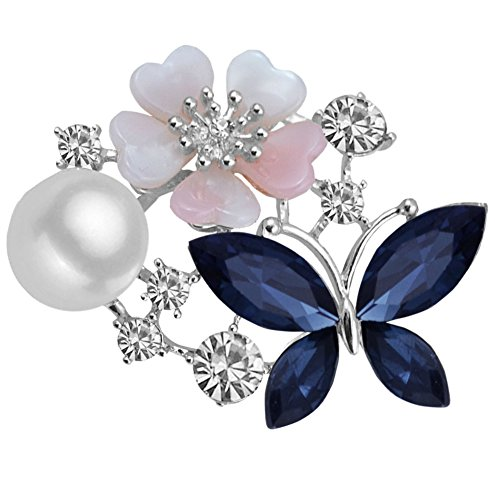 Butterfly Ruby Brooch (Lucky Flower Butterfly Crystal Rhinestone Pearl Charms Brooch Pins for Women (Blue))