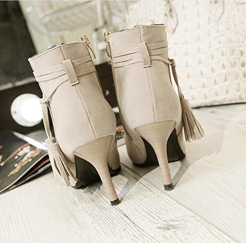 martin Temperamento Treinta Con Alto Thirty Khskx Bare Shoes Nueva Boots Flecos Tacón Siete nine Un Señaló Botas Buen Y Martin Khaki De zYdqxBd