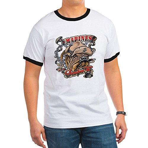 (Royal Lion Ringer T-Shirt Marines Semper Fi Devil Dog Smoking - Black/White,)
