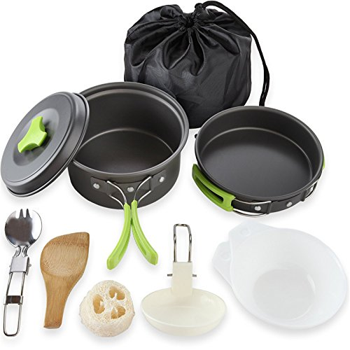 Camping Cookware Mess Kit Backpacking Gear & Hiking Outdoors Bug Out Bag Cooking Equipment 10 Piece Cookset Lightweight, Compact, & Durable Pot Pan Bowls - Free Folding Spork, Nylon Bag by HBIS