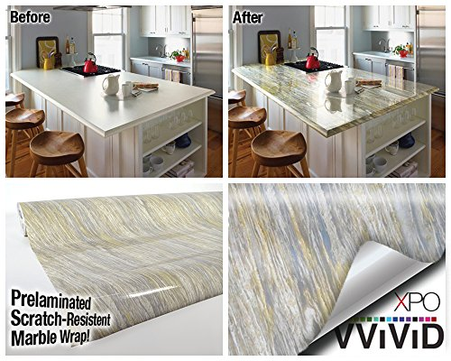 Gold Beige Marble Gloss Vinyl Architectural Wrap for Home Office Furniture Wallpaper Tile Sheet 6.5ft x 15.9