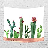 Cactus Landscape Tapestry Wall Art Hangings Echinopsis Cactus Flower Watercolor Printed - large Tablecloths Wall Backdrop Hippie Bedspread Tapestry 59x78.7inches HYC05-US (#4)