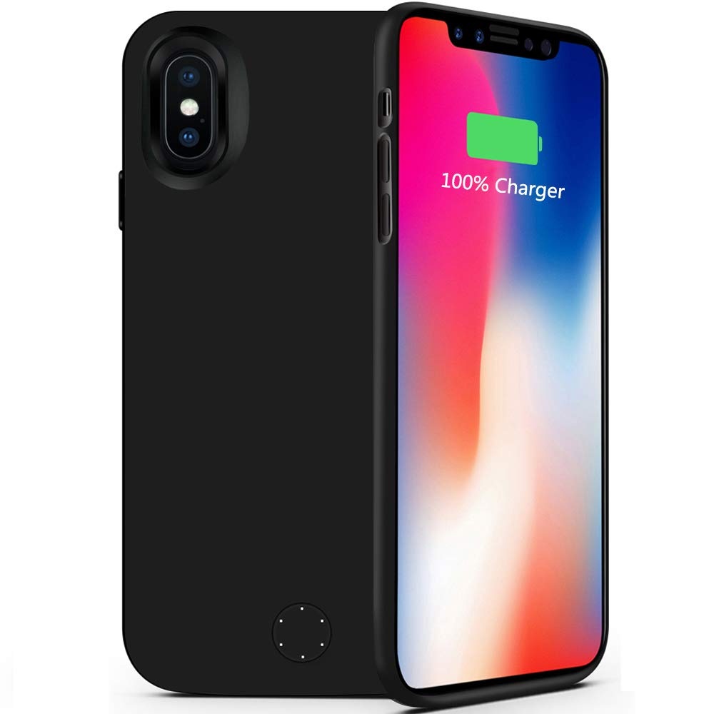 iPhone X Battery Case,80sbrothers [5000mAh] iPhone X Portable Charger,Portable Rechargeable Protective Charging Case for iPhone 10,Support Lightning Earphone and Sync-Though(Black)