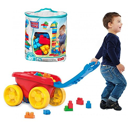 Mega Bloks Big Building Bag (Blue, 80 pcs with Block Scooping Wagon (Mega Blocks Wagon)