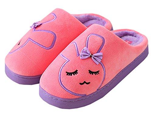 Blubi Womens Bunny Super Zachte Fluwelen Warme Slippers Huis Slippers Watermeloen Rood