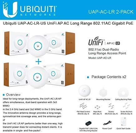 Ubiquiti UAP-AC-LR 2-PACK UniFi AP AC LR Long Range 802.11AC Gigabit PoE by Ubiquiti Networks