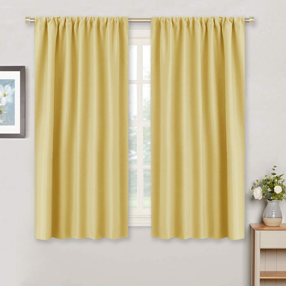 RYB HOME Living Room Curtains - Thermal Insulated Window Treatment Panels for Bedroom Foyer Home Office Garden, Wide 42 inch x Long 45 inches, Mustard Yellow, 1 Pair