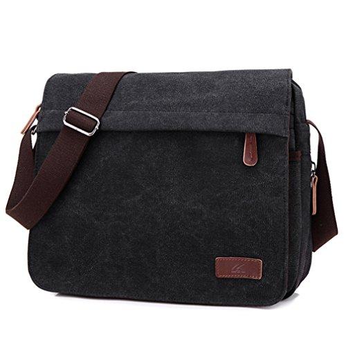 Schultertaschen, Kfnire Vintage Leinwand Messenger Bag Umhängetasche für Schule / Arbeit / Reisen Freizeittaschen Schwarz