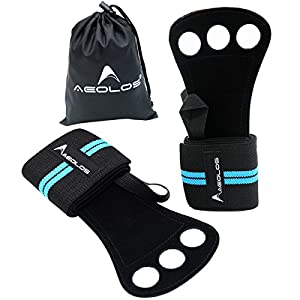 AEOLOS Gymnastics Hand Grips/Crossfit Gloves with Wrist Wrap Support Perfect for WODs,Pull up,Power Weight Lifting,Kettlebells and Gym Workout