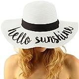 Fun Verbiage Elegant Wide Brim 4'' Summer Derby Beach Pool Floppy Dress Sun Hat Hello Sunshine, White