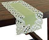 Xia Home Fashions Laurel Embroidered Cutwork Mini Spring Table Runner, 12 by 28-Inch, Green