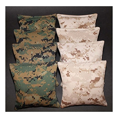 8 All Weather USMC Camo US Marine Corps Military Camouflage Resin Cornhole Bags - Hand Made by Unknown