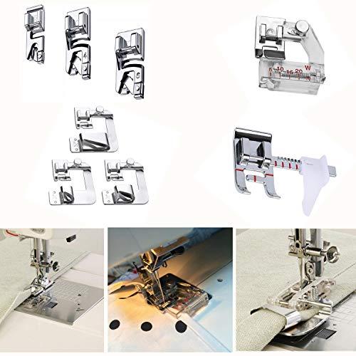 (Windman Sewing Hemming Set - Includes 3Pcs Wide Hem Foot,3Pcs Narrow Rolled Hem Presser Feet,Bias Tape Binder Foot and Adjustable Guide Presser Foot for Brother Singer Janome Low Shank Sewing Machine)
