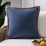 Phantoscope Farmhouse Burlap Linen Trimmed Tailored Edges Throw Pillow Case Cushion Covers Navy Blue 20 x 20 inches 50 x 50 cm