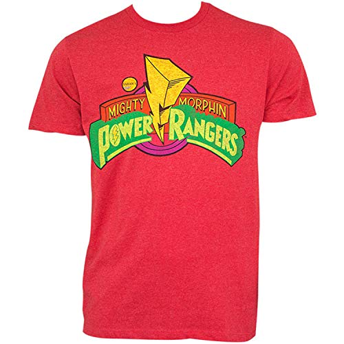 Power Rangers Mighty Morphin Classic Logo Design Short Sleeve T-Shirt, Red, XL