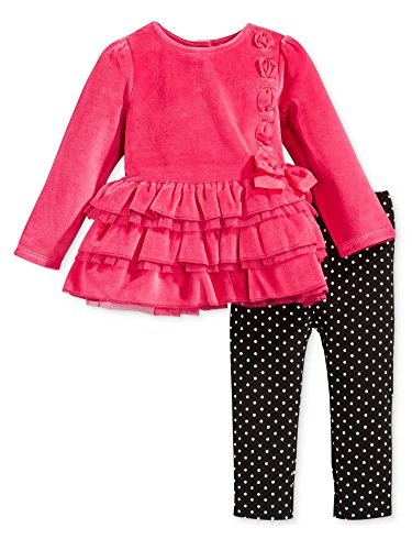 First Impressions Infant Girl 2 Piece Pink Velour Outfit Sweater Leggings 3-6m