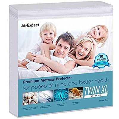 AirExpect 100% Organic Cotton Hypoallergenic Breathable Waterproof Mattress Protector Queen King Full Twin Twin XL Cal King Size