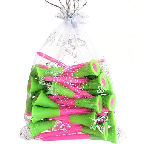 Golf Tees Plastic,Pink Golf Tees for Women 3 1/4 inch Length,Plastic Golf tee 30 Count with Golf Bag Easy for Storage (Green and Pink)