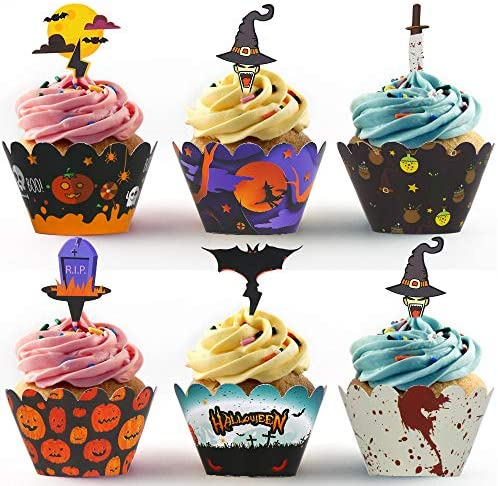 STEFORD Halloween Cupcake Toppers Wrappers,24PCS Halloween Cake Wrappers for Halloween Party Decoration Supplies