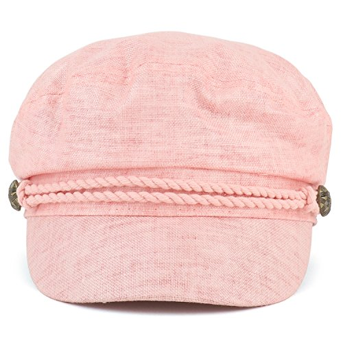 Trendy Apparel Shop Linen Cotton Newsboy Fisherman Rope Band Fiddler Cap - Coral by Trendy Apparel Shop (Image #1)