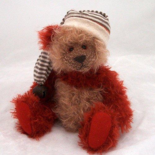 Sing Sing - Panda Teddy Bear Beige & Maroon Steiff Schulte Mohair Artist Collectable OOAK 8 1/2 (Beige Mohair)