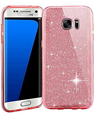 Samsung S7 Crystal TPU+PC Hard Case-Auroralove Beauty Bling Soft Clear TPU+Shiny Layers+Hard PC Frame Cover for Samsung Galaxy S7 by Auroralove