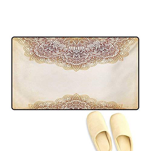Aurora Henna Henna - Doormat,Artistic Oriental Vintage Ornate Pattern Ethnic Henna Style Mandala Artwork Print,Floor Mat Bath Mat for Tub,Beige,32