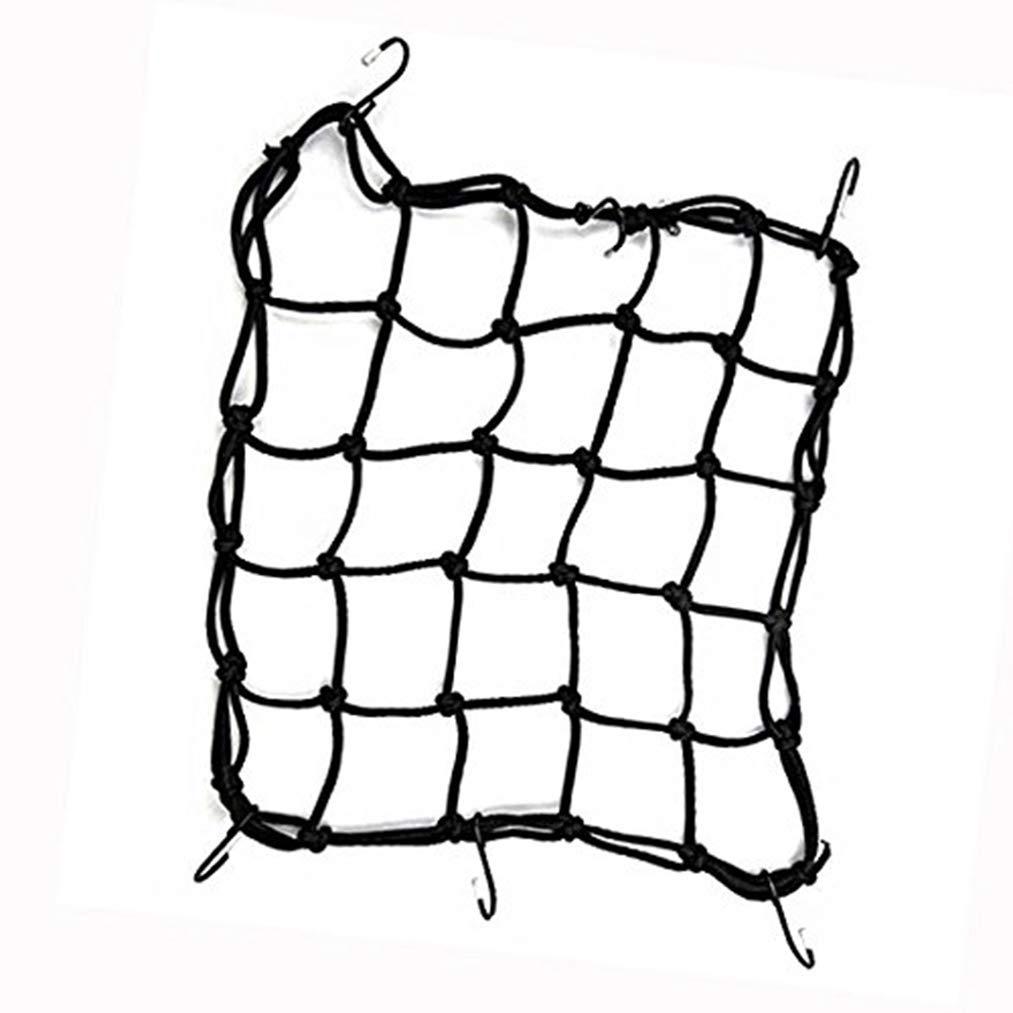Hmxpls Motorcycle Helmet Cargo Net Elastica Luggage Mesh Bungee Net with Hooks Black 40 x 40cm
