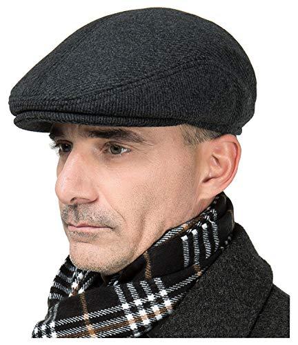 Onlineb2c Men's Vintage Style Wool Blend Winter Ivy Snap Cap Hat with Earflap (L(59cm), Black & Grey)
