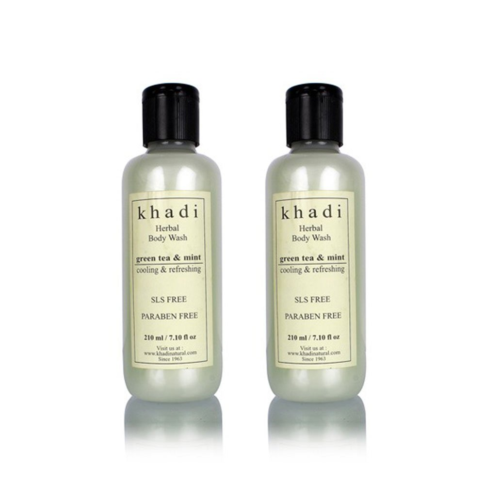 khadi Natural Green Tea And Mint Body Wash- Sls & Paraben Free - (Twin Pack) (210ml Each) B0193CQV80